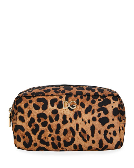 Leopard Nylon Cosmetics Pouch Bag