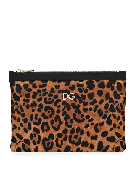 Image 1 of 1: Leopard-Print Nylon Pouch Bag