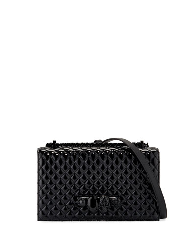 Shiny Quilted Jeweled Shoulder Bag