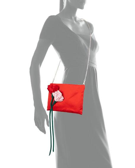 Satin Rose Crossbody Bag