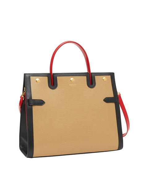 Lizard-Embossed Medium Top Handle Bag
