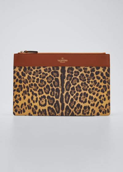 City Safari Leopard-Print Zip Large Pouch Bag