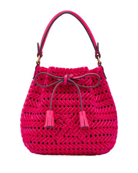 The Neeson Tiny Velvet Ribbon Drawstring Bucket Bag, Magenta