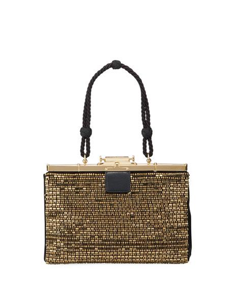 Beaded Satin Evening Frame Top Handle Bag