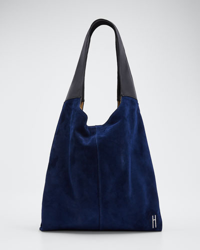Grand Suede & Leather Shopper Tote Bag