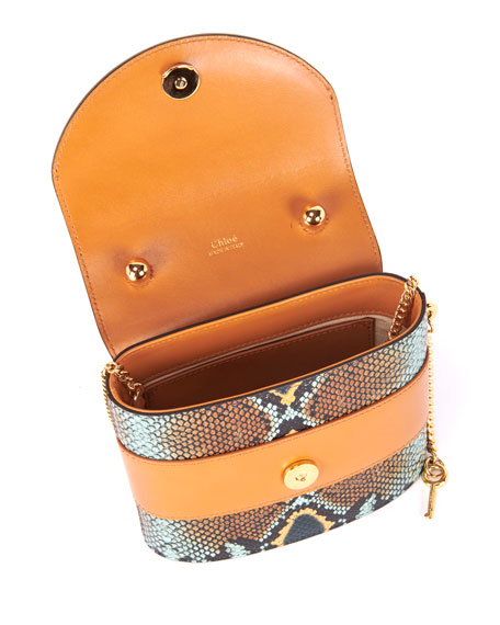 Aby Lock Python-Print Top Handle Bag