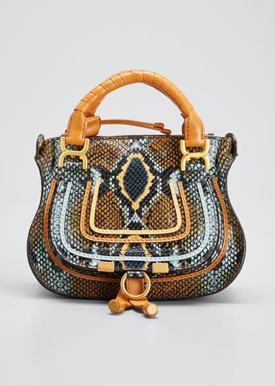 Marcie Mini Python-Embossed Double-Carry Satchel Bag