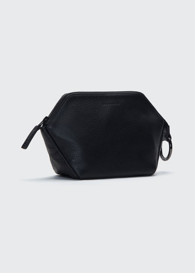 Zip-Top Leather Cosmetics Bag
