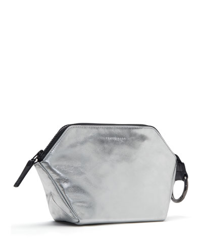 Zip-Top Metallic Leather Cosmetics Bag