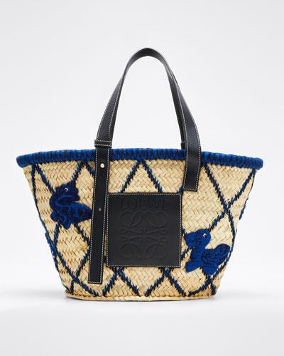 Basket Animals Raffia Tote Bag