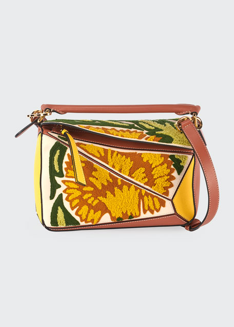 Image 1 of 1: Puzzle Embroidered Floral Leather Satchel Bag