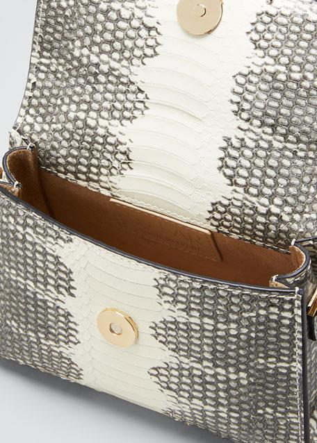 Mini Snake-Print Top Handle Bag