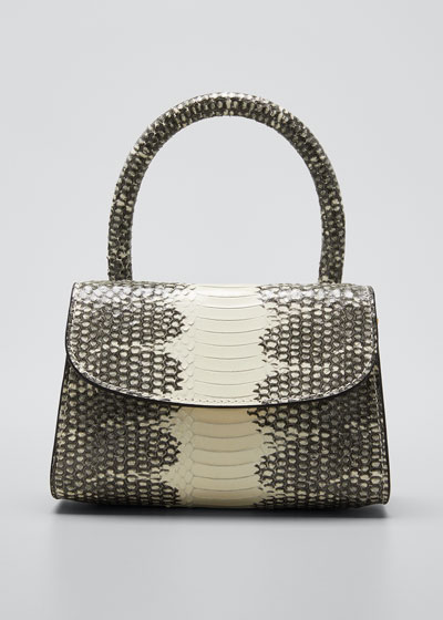 Mini Snake-Print Top Handle Bag
