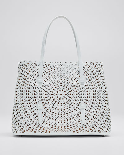 Mina Small Vienne Laser-Cut Leather Tote Bag