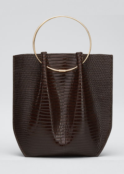 Flat Micro Circle Bag in Lizard