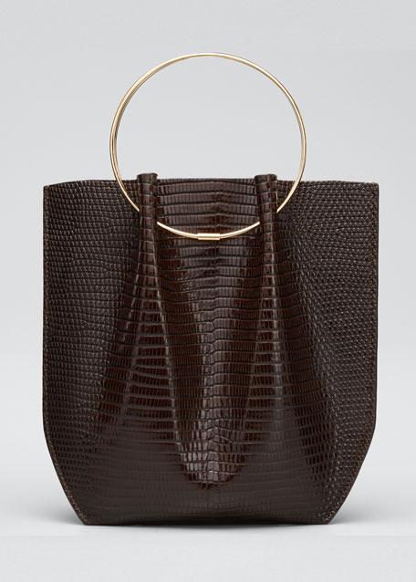 Flat Micro Circle Bag in Lizard