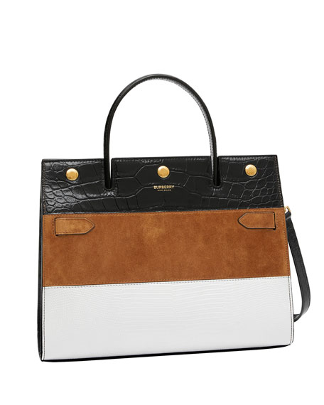 Medium Title Mixed Leather Top Handle Bag