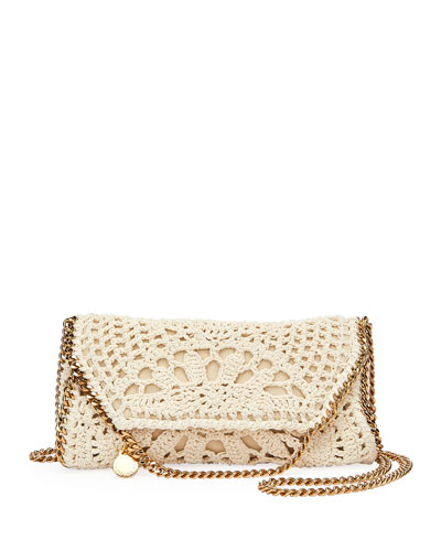 Falabella Mini Crochet Fold-Over Crossbody Bag