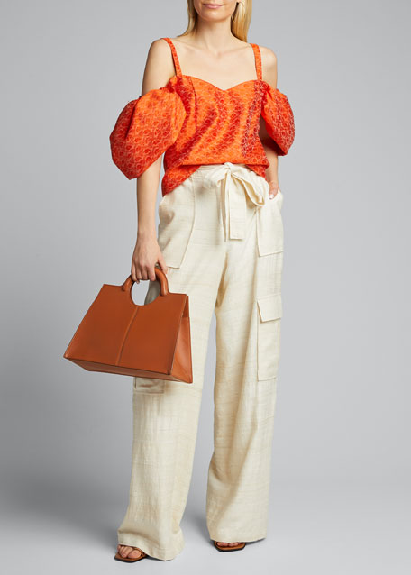 Leather Top Handle Bracelet Tote Bag