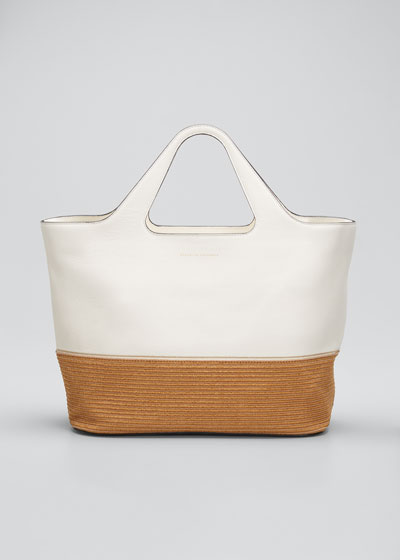 Raffia & Leather Tote Bag