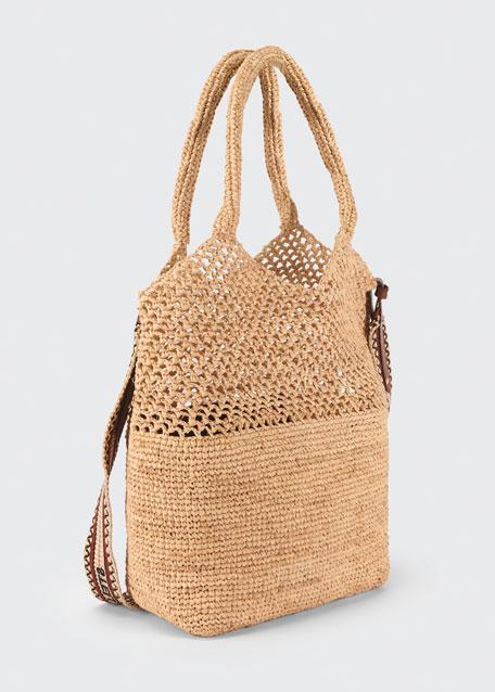 Crochet Raffia Logo Small Tote Bag