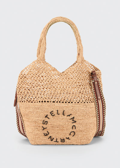 Crochet Raffia Logo Small Tote Bag