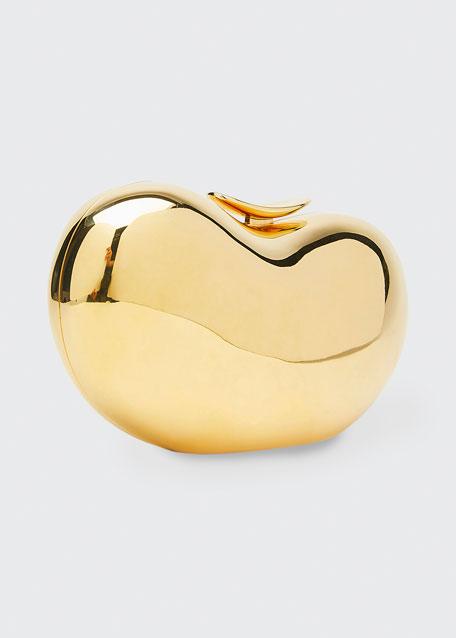 Pebble Golden Hard-Shell Clutch Bag