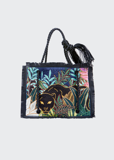 The Rope Panther Fringe Tote Bag
