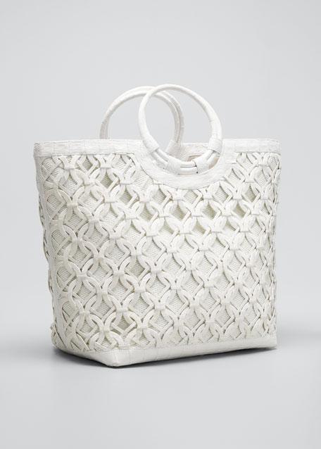Woven Raffia Crocodile Ring Top Handle Bag