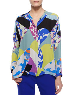 Abstract-Print Henley Blouse