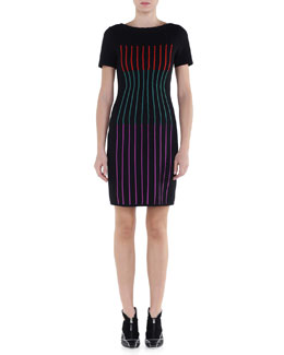 Multicolor Striped Sheath Dress
