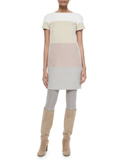 Ellis Cashmere Colorblock Striped Shift Dress