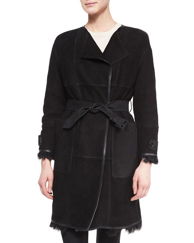 Paneled Shearling Fur Mid-Length Coat