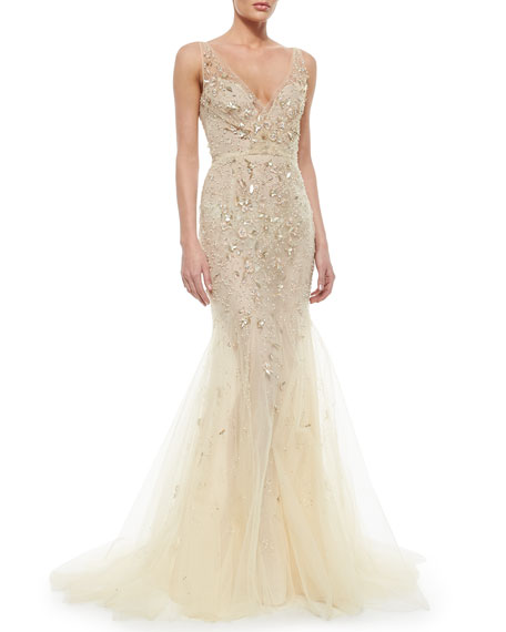 Floral-Beaded Tulle Mermaid Gown