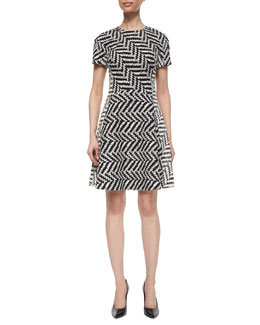Mixed Direction Chevron Jacquard Dress