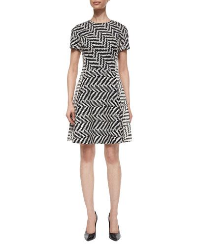 Mixed Direction Chevron Jacquard Dress