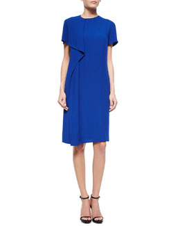 Short-Sleeve Draped Dress