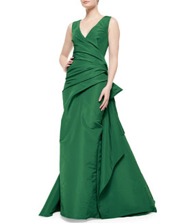 Surplice Draped Bow-Detailed Gown