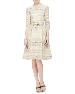 Boucle-Speckled Tweed Shirtdress
