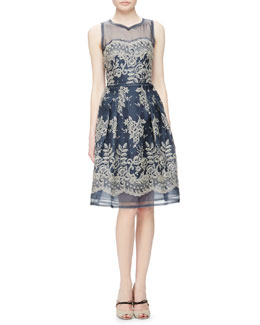 Lace-Embroidered Organza Cocktail Dress