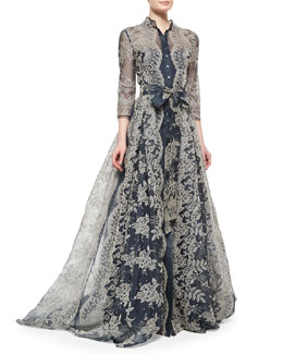 Embroidered Lace Pleated Gown