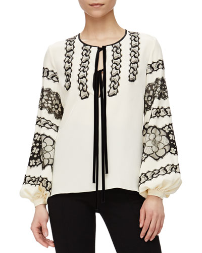 Floral Lace-Detailed Blouson-Sleeve Top