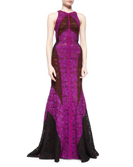Tricolor Lace Paneled Halter Gown