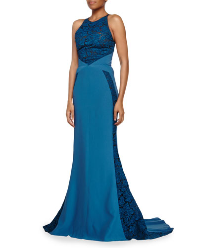 Lace Paneled Halter Gown