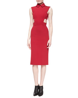 Side-Cutout Point-Collar Sheath Dress