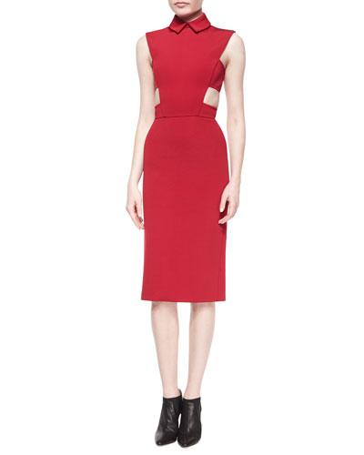 Side-Cutout Point-Collar Sheath Dress