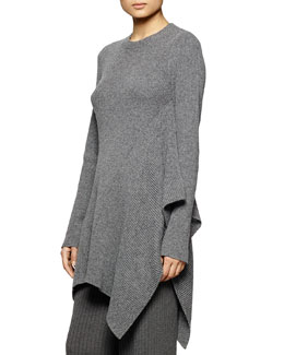 Asymmetric Ribbed Tunic Sweater, Gray