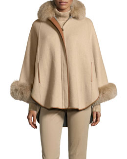 Baby Cashmere Poncho w/Fox Fur Collar, Golden Shade
