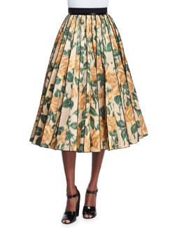 Floral Ikat Pleated Midi Skirt