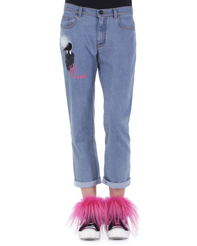 Karlito Fur Applique Boyfriend Jeans